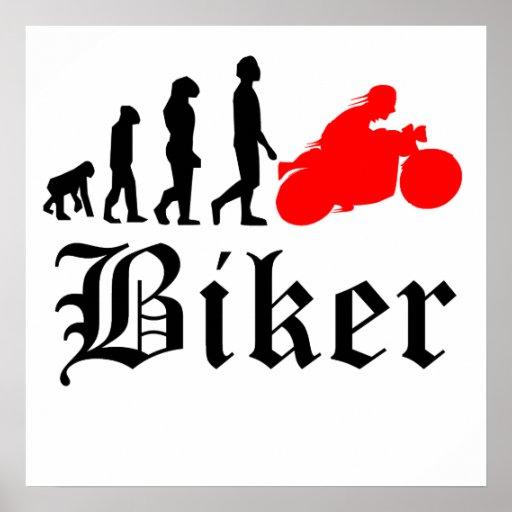 Biker Evolution Motorcycle (Red) Print