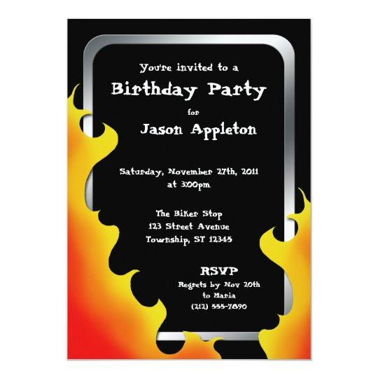 Biker Flames Silver Frame Birthday Invitations