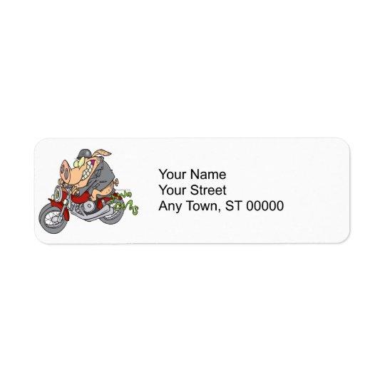 biker hog pig motorcycle bike cartoon return address label