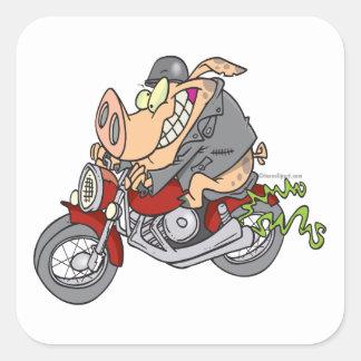 biker hog pig motorcycle bike cartoon square stickers