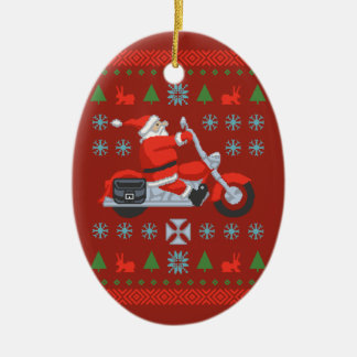 Biker Holiday Sweater Tees Christmas Ornament