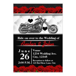 Biker Motorcycle Leather Rose Wedding Invitations