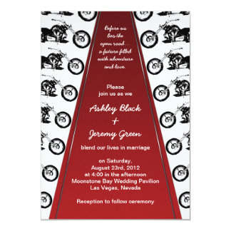 Biker or Motorcycle Red Carpet Wedding Invitation