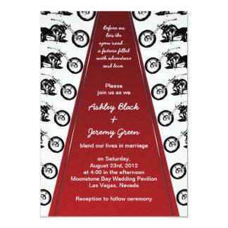 "Biker or Motorcycle Red Carpet Wedding Invitation 5"" X 7"" Invitation Card"