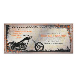 "Biker or Motorcycle Wedding Invitation 4"" X 9.25"" Invitation Card"