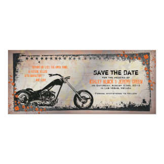 Biker or Motorcycle Wedding Save the Date 4x9.25 Paper Invitation Card