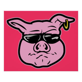 Biker Pig Poster