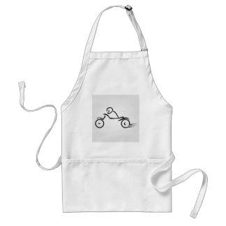Biker showing road safety standard apron
