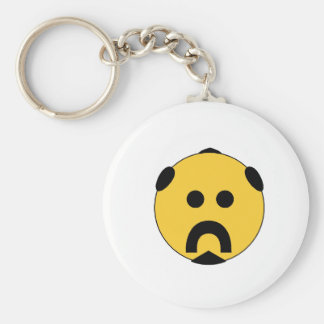 Biker Smiley Basic Round Button Key Ring