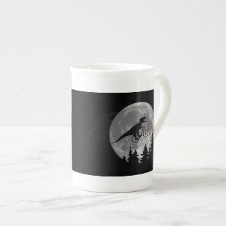 Biker t rex In Sky With Moon 80s Parody Tea Cup