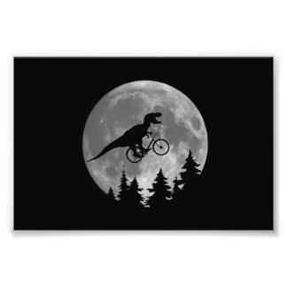 Biker t rex In Sky With Moon 80s Parody Photograph