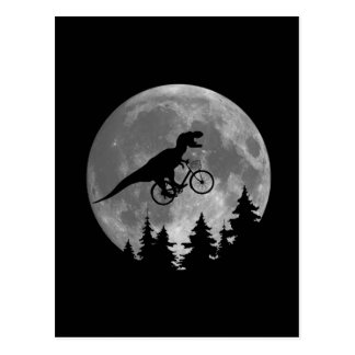 Biker t rex In Sky With Moon 80s Parody Postcard
