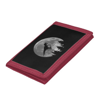 Biker t rex In Sky With Moon 80s Parody Tri-fold Wallet
