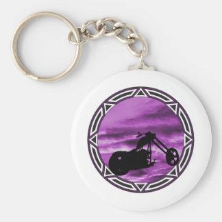 Biker Tribal Purple Chop Basic Round Button Key Ring