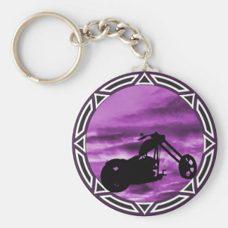 Biker Tribal Purple Chop Keychain