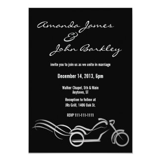 Biker Wedding Black with Swirls 5x7 Paper Invitation Card