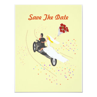 "Biker Wedding Save The Date 4.25"" X 5.5"" Invitation Card"
