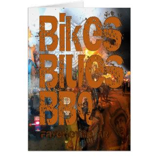 Bikes, Blues, BBQ greetings Card