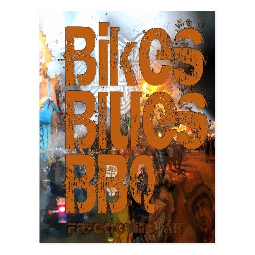 Bikes, Blues, BBQ greetings Post Card