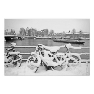 Bikes in the snow in Amsterdam the Netherlands Poster