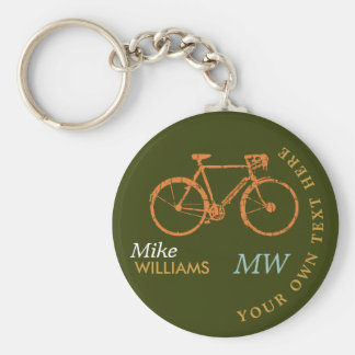 biking, a.bike on greenish keychain with name