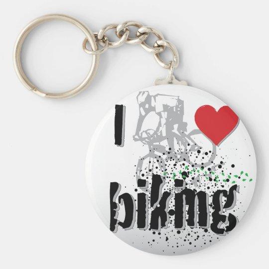 Biking Basic Round Button Key Ring