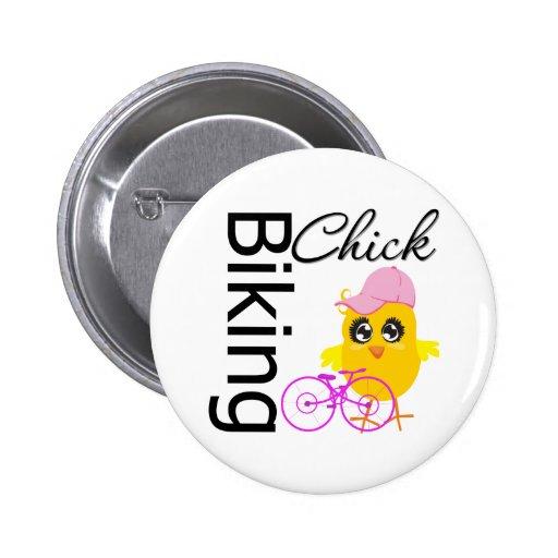 Biking Chick Pinback Button