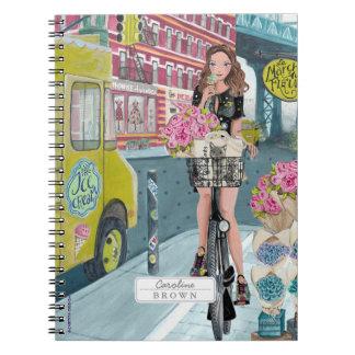 Biking Girl Brooklyn New York | Photo Notebook