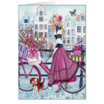 Biking in Amsterdam - Birthday Card