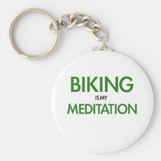 Biking is my Meditation Basic Round Button Key Ring