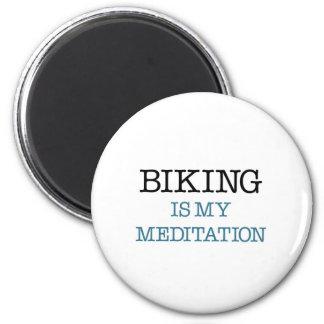 Biking is my Meditation 6 Cm Round Magnet