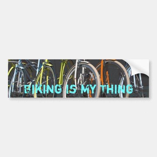 Biking Is My Thing - Blue Bumper Sticker