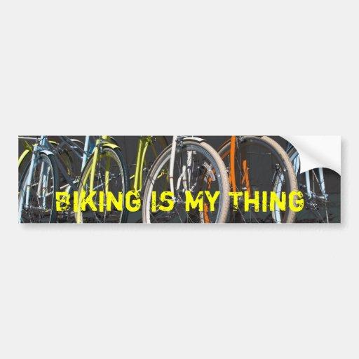 Biking Is My Thing - Yellow Bumper Stickers
