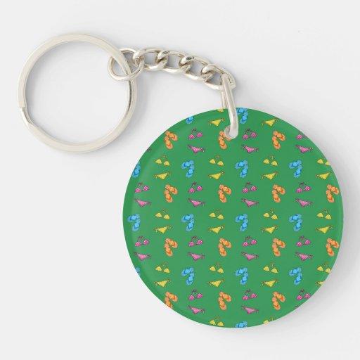 Bikini and sandals green pattern acrylic keychain