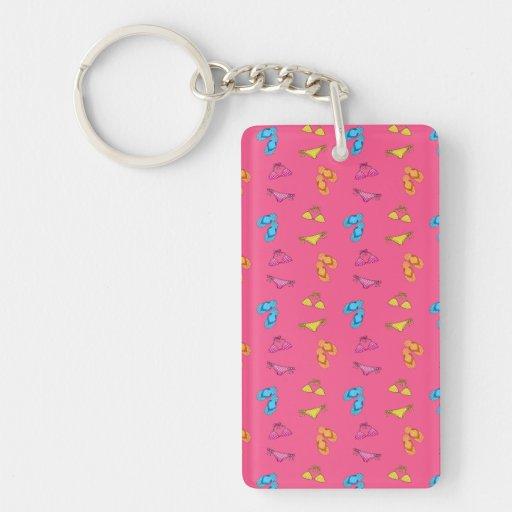 Bikini and sandals pink pattern key chain