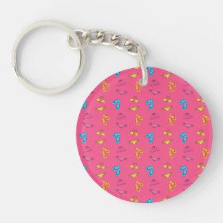 Bikini and sandals pink pattern Single-Sided round acrylic key ring