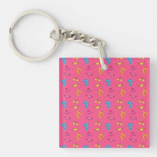 Bikini and sandals pink pattern Single-Sided square acrylic key ring