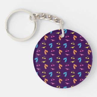 Bikini and sandals purple pattern Double-Sided round acrylic key ring