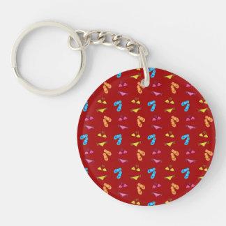 Bikini and sandals red pattern Single-Sided round acrylic keychain