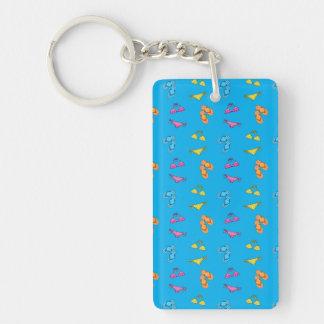 Bikini and sandals sky blue pattern Double-Sided rectangular acrylic keychain