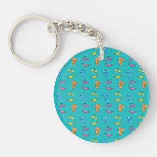 Bikini and sandals turquoise pattern Double-Sided round acrylic keychain