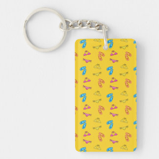 Bikini and sandals yellow pattern Single-Sided rectangular acrylic key ring