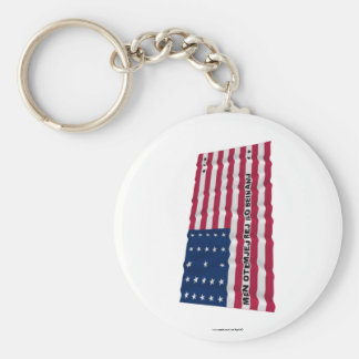 Bikini Atoll Waving Flag Basic Round Button Key Ring