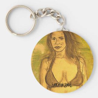 bikini girl art basic round button key ring