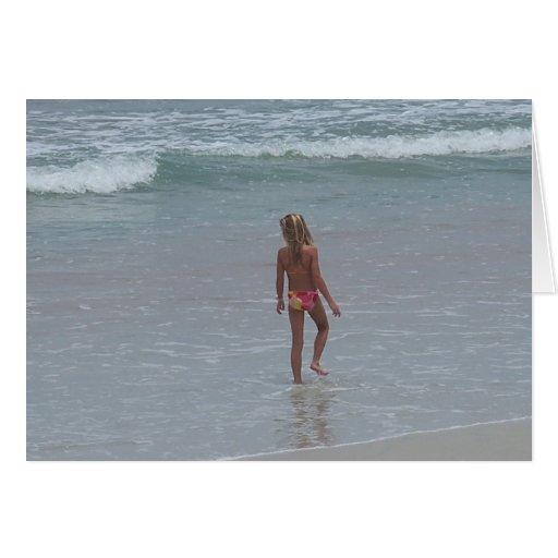 Bikini Girl on Daytona beach Sea Postcard Art Cards