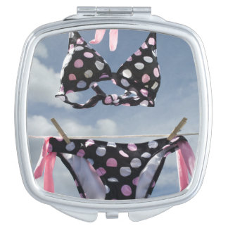 Bikini Hanging On A Clothesline Compact Mirror