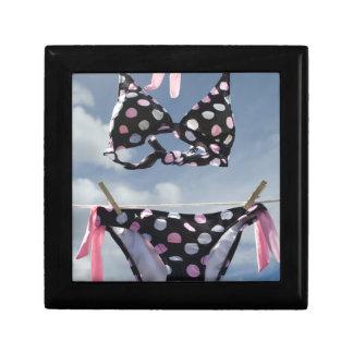 Bikini Hanging On A Clothesline Small Square Gift Box