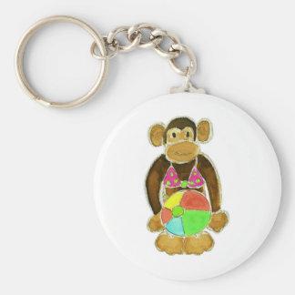 Bikini Monkey Basic Round Button Key Ring