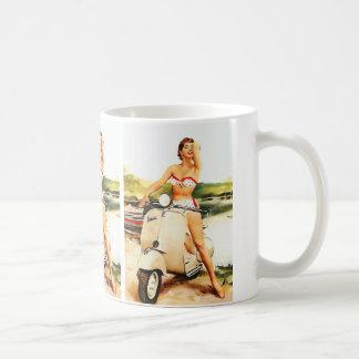 Bikini Scooter Girl Basic White Mug