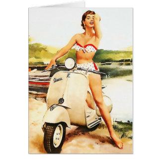 Bikini Scooter Girl Greeting Cards
